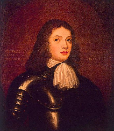 Oil on canvas portrait of William Penn at age 22 in 1666, portrayed in suit of armor.