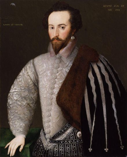 "Portrait of Sir Walter Raleigh inscribed right: Aetatis suae 34 An(no) 1588 (""In the year 1588 of his age 34"") and left: with his motto Amore et Virtute (""By Love and Virtue""). National Portrait Gallery, London, NPG 7."